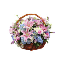 Basket fresh flowers